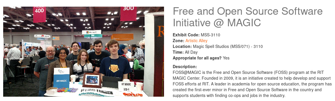 Screenshot of exhibit info on Imagine RIT website